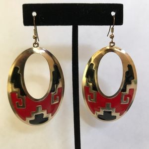 Red, Black, and Gold Pattern Earrings
